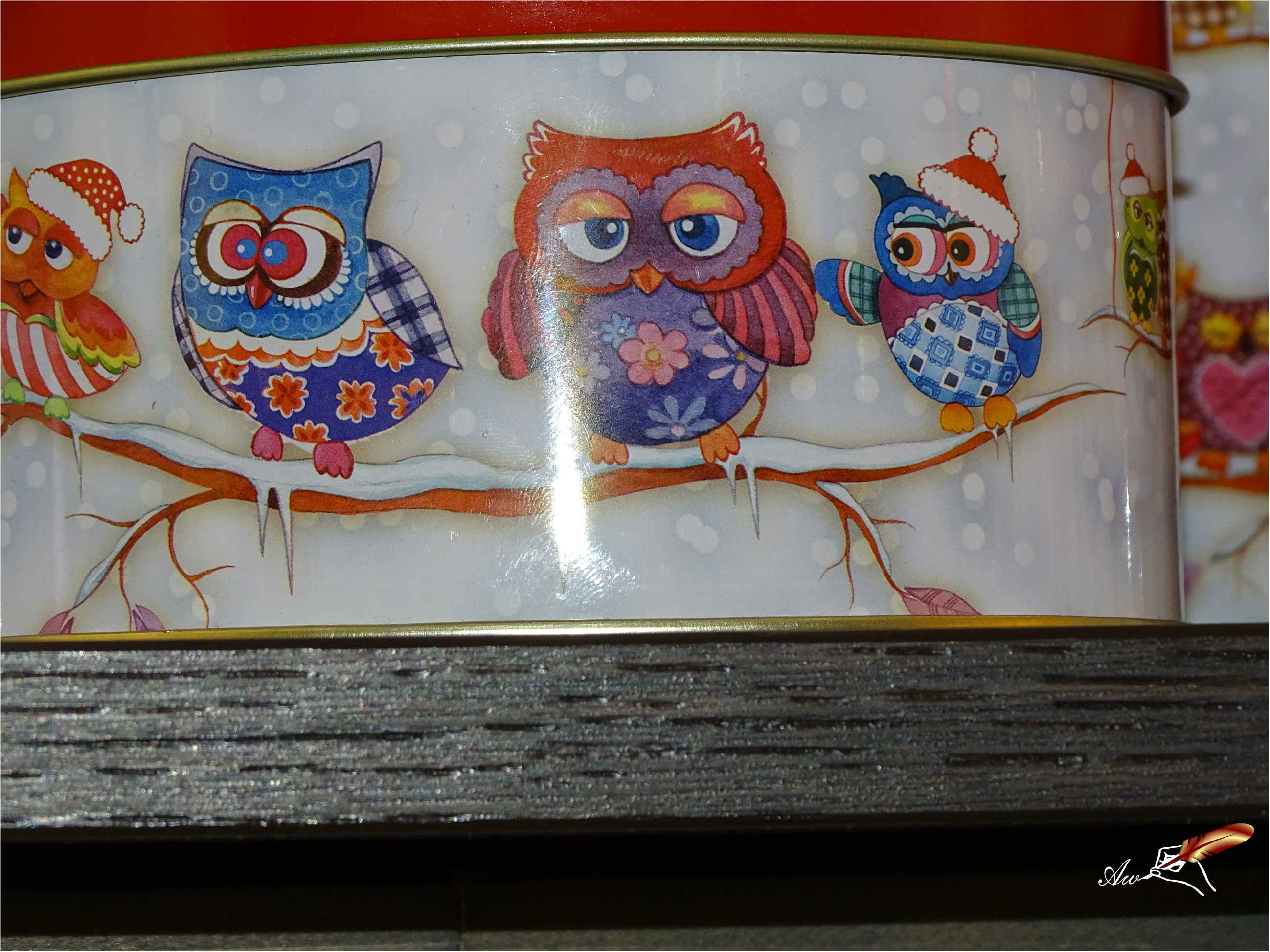 Owls on a gift box - by Andrada Anitei